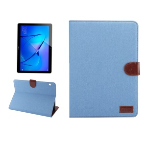 For Huawei MediaPad T3 10.0 Jeans Cloth Texture Card Slots Stand Flip Case - Baby Blue