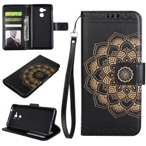 Imprinted Flower Pattern PU Leather Stand Wallet Phone Case for Huawei Honor 6c - Black
