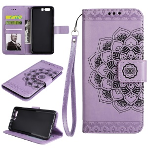 Imprinted Mandala Pattern PU Leather Wallet Phone Protection Cover with Stand for Huawei P10 Plus - Purple