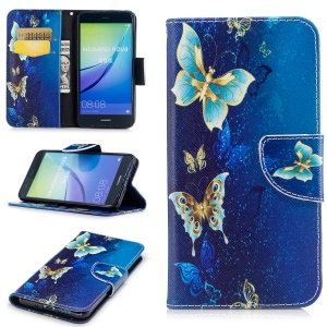 Pattern Printing Wallet Stand Leather Protective Cover with Magnet for Huawei P10 Lite - Gold and Cyan Butterfly
