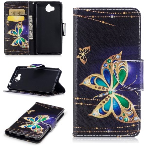 Pattern Printing Magnetic Leather Wallet Phone Casing with Stand for Huawei Y5 (2017) / Y6 (2017) - Butterfly with Diamond