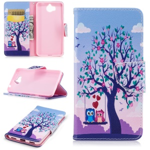 Pattern Printing Magnetic Leather Wallet Phone Shell with Stand for Huawei Y5 (2017) / Y6 (2017) - Tree with Blossoming Flower and Two Owls