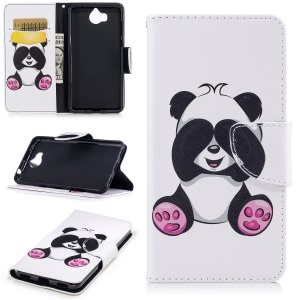 Pattern Printing Magnetic Leather Wallet Cell Phone Shell with Stand for Huawei Y5 (2017) / Y6 (2017) - Panda