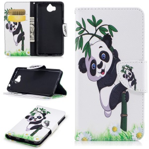 Pattern Printing Magnetic Stand Leather Wallet Phone Casing for Huawei Y5 (2017) / Y6 (2017) - Panda on Bamboo