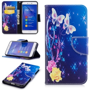 Pattern Printing Magnetic Leather Wallet Phone Case with Stand for Huawei P8 Lite (2017) / Honor 8 Lite - Two Butterflies and Flowers
