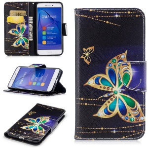 Pattern Printing Magnetic Leather Wallet Cell Phone Shell with Stand for Huawei P8 Lite (2017) / Honor 8 Lite - Butterfly with Diamond