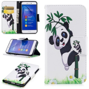 Pattern Printing Magnetic Stand Leather Wallet Protective Phone Casing for Huawei P8 Lite (2017) / Honor 8 Lite - Panda on Bamboo