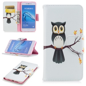 Pattern Printing Magnetic Leather Wallet Phone Casing with Stand for Huawei Honor 6c - Owl