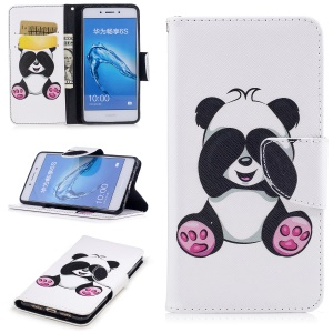 Pattern Printing Magnetic Leather Wallet Cell Phone Cover with Stand for Huawei Honor 6c - Panda