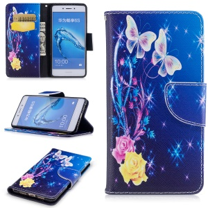 Pattern Printing Magnetic Stand Leather Wallet Mobile Phone Cover for Huawei Honor 6c - Two Butterflies and Flower
