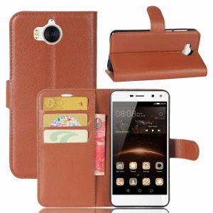 For Huawei Y5 (2017) / Y6 (2017) Litchi Texture PU Leather Card Slots Stand Phone Protection Casing - Brown