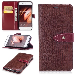 Crocodile Texture Stand Leather Wallet Mobile Phone Cover for Huawei P10 - Wine Red