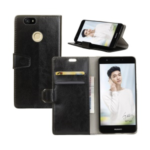 Crazy Horse Skin Leather Wallet Stand Casing for Huawei Enjoy 7  - Black