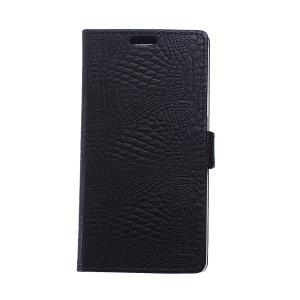 For Huawei Enjoy 7 Crocodile Texture Leather Flip Case with Stand - Black