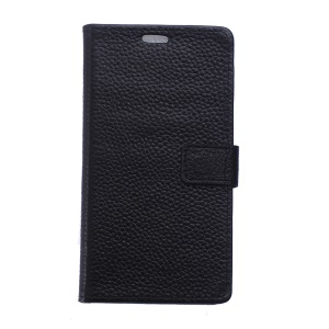 Litchi Grain Genuine Leather Wallet Stand Cover Case for Huawei Enjoy 7 - Black