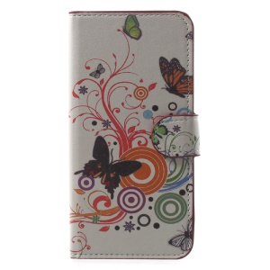 Pattern Printed Magnetic Stand PU Leather Shell for Huawei Honor 9 - Butterfly Flower