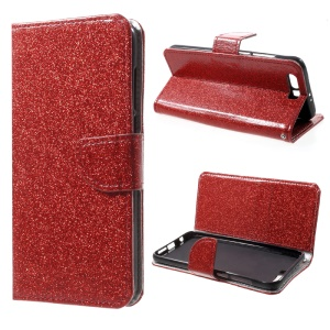 Glitter Powder Leather Flip Stand Case for Huawei Honor 9 - Red