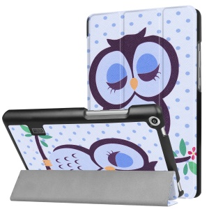 Printing Pattern Tri-fold Leather Cover for Huawei MediaPad T3 7.0 - Owl Napping on Branch