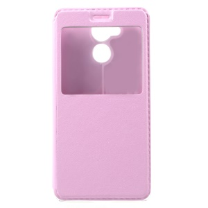 For Huawei Honor 6C View Window Stand Leather Mobile Phone Casing Cover - Pink