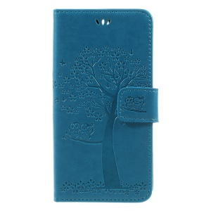 Imprint Tree Owl Magnetic Wallet PU Leather Shell with Stand for Huawei Honor 9 - Blue