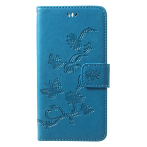 Imprint Butterfly Flowers Wallet Stand PU Leather Shell with Card Slots with Strap for Huawei Honor 9 - Blue