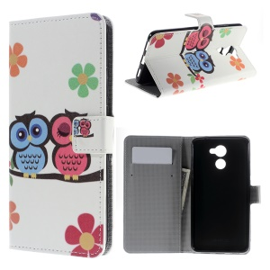 Patterned PU Leather Wallet Stand Shell para Huawei Y7 Prime / Aproveite 7 Plus - coruja casal