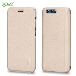 LENUO for Huawei Honor 9 Ledream Series PU Leather Folio Cell Phone Casing - Gold