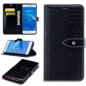 Crocodile Texture PU Leather Wallet Mobile Casing for Huawei Honor 6c - Black
