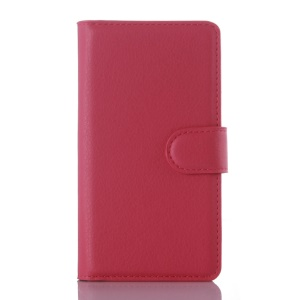 Litchi Grain Wallet Stand PU Leather Case for Lenovo A2010 - Rose