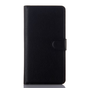 Litchi Skin Leather Wallet Case for Lenovo Vibe P1 - Black