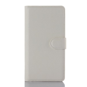 Litchi Skin Leather Wallet Cover for Lenovo Vibe P1 - White