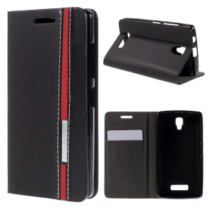 Contract Color Stand Leather Case for Lenovo A2010 with Card Slot - Black