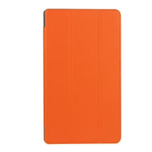 For Lenovo Tab 2 A7-20F Tri-fold Stand Leather Case Shell - Orange