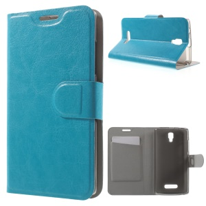 Crazy Horse Stand PU Leather Phone Case for Lenovo A2010 - Blue