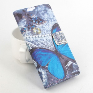 Card Holder Flip Stand Leather Case Cover for Lenovo A2010 - Blue Butterfly