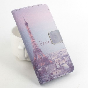Protective Stand Leather Case Accessory for Lenovo A2010 - Eiffel Tower City View