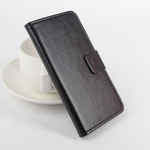 For Lenovo A2010 Crazy Horse Card Holder Leather Case with Stand - Black