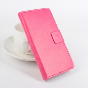 Crazy Horse Stand Leather Case for Lenovo A2010 with Card Slots - Rose