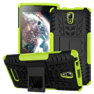 Tire Texture Kickstand PC + TPU Cover Case for Lenovo A2010 - Green