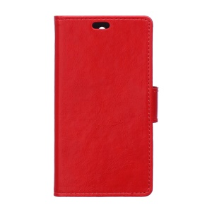 Crazy Horse Leather Wallet Cover for Lenovo A1000 - Red