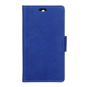 Crazy Horse Leather Stand Protective Case for Lenovo A1000 - Dark Blue