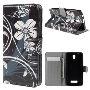 PU Leather Wallet Stand Cover for Lenovo A2010 - Flower