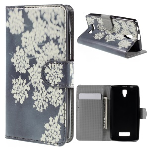 PU Leather Card Holder Stand Shell for Lenovo A2010 - White Flower