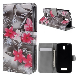 PU Leather Card Slots Cover for Lenovo A2010 with Stand - Delicate Flowers