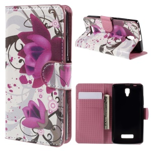 PU Leather Card Holder Stand Cover for Lenovo A2010 - Purple Flower