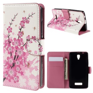 PU Leather Card Holder Stand Cover for Lenovo A2010 - Plum Blossom