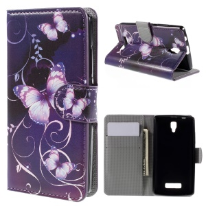 PU Leather Magnetic Closure Stand Cover for Lenovo A2010 - Purple Butterfly