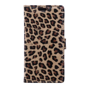 Glossy Leopard Wallet Leather Case for Lenovo A1000 with Stand