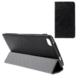 Tri-fold Stand Leather Case for Lenovo PHAB Plus PB1-770N 6.8-inch Lines Texture - Black