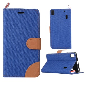 Denim Fabric Skin Leather Stand Card Slot Case for Lenovo A7000 / A7000 Plus/ K3 Note K50-t5 - Deep Blue